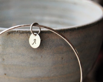 Sterling Silver Personalized Bangle  - Monogram Bracelet - Initial Bracelet - Letter Bracelet - Gift For Her