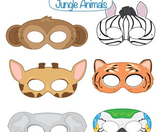 Jungle Animals Printable Masks, monkey mask, zebra, tiger, elephant, parrot, giraffe, animal mask, jungle animal, safari, tiger costume,bird