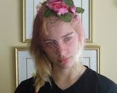 Vintage Pink Fascinator Hat / Pink Netting