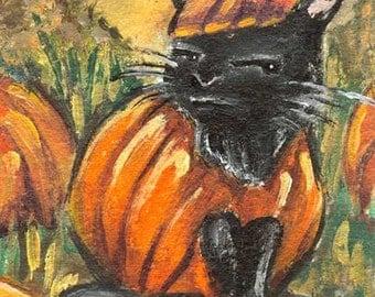 Black Cat Art, Pumpkin Decor, Halloween Costume, Autumn Print, Pet Lover Gift, Custom Size, Large Wall Art, ACEO Card