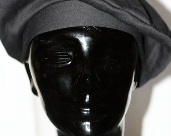 Vintage Early '90s Black Cotton Beret