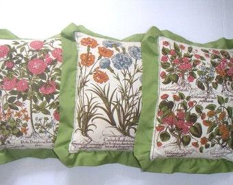Vintage Decorative Pillows,Floral,Garden,Nature,Botanical,Home Decor,Cottage Chic