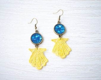 Blue Glitter and Resin with Yellow Seashell Lace Earrings