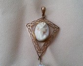 antique hand made cameo and pearl 10k gold pendant