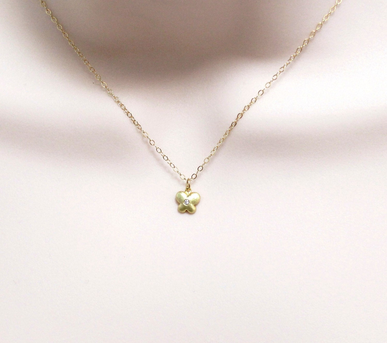 reserved for tl teeny tiny butterfly necklace gold filled