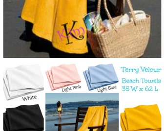 Monogram Beach Towels Personalized Gifts, Spring Break, Graduation, Beach Vacation,
