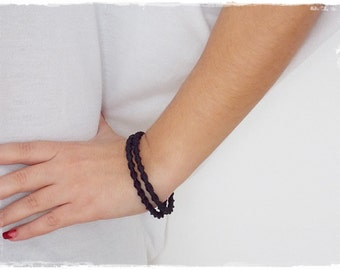 Gothic Bangle Bracelet, Black Macrame Bracelet, Goth Black Bracelet, Black Lolita Bracelet, Goth Victorian Bracelet, Macrame Bangle Cuff