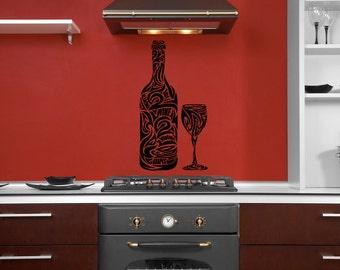 Wine Bottle, Swirl Decal, Glass, Goblet, Grapes, Grape Decal, Sticker, Vinyl, Wall Art, Home, Kitchen, Restaurant Decor, Vine, Red, Merlot