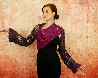 Avalon - Luxuriously Soft Contrast Color Lace Knitted Fuschia Pink Grey Charcoal Sweater Shrug Wrap
