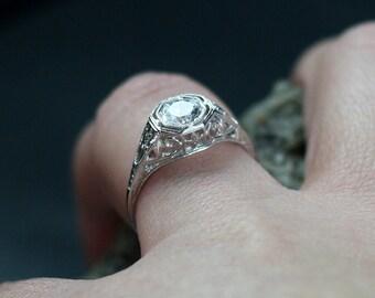White Sapphire Engagement Ring Antique Style Filigree Round Brilliant .75ct 5mm Kassandra Custom White-Yellow-Rose Gold-10k-14k-18k-Platinum