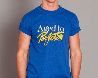 Fun Vintage Tshirt - Aged to Perfection - blue