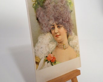 Woman In Lace Gown With Real Hair Postcard
