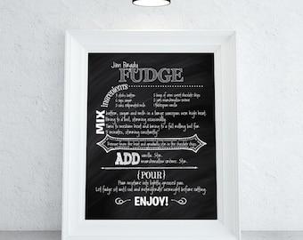 Custom Recipe Print   Choose Any Colors   Chalkboard Artwork   Family Recipe Art