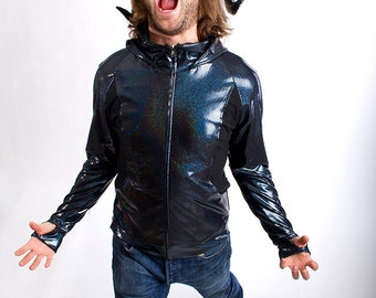 FESTIVAL SALE! Men's Holographic Zip Hoodie in Oil Slick Black-- BeastWares Incandescent Armor