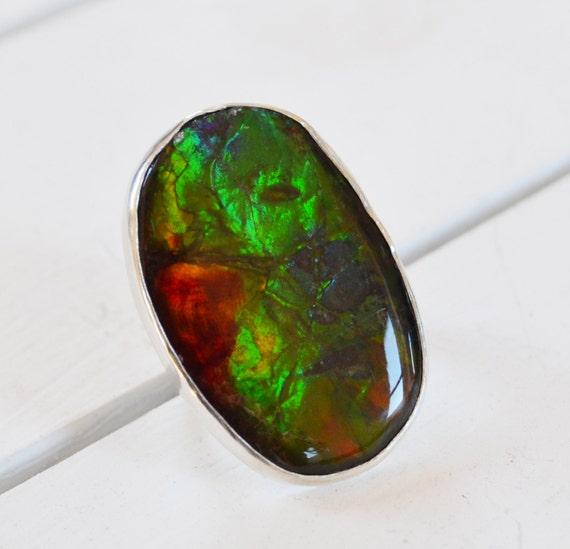 ammolite ring ammolite gemstone ring sterling by