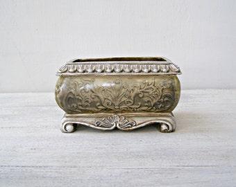 Victorian Planter Vintage, Plastic Pot Planter, Vanity Desk Trinket Bowl, Jewelry Catchall Dish, Bonsai Pot, Small Cacti Succulent Planter