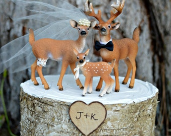 Deer family wedding cake topper-Camouflage-buck-doe-family-Hunting wedding cake topper-Deer bride and groom-Hunting-Buck-Wedding Cake Topper