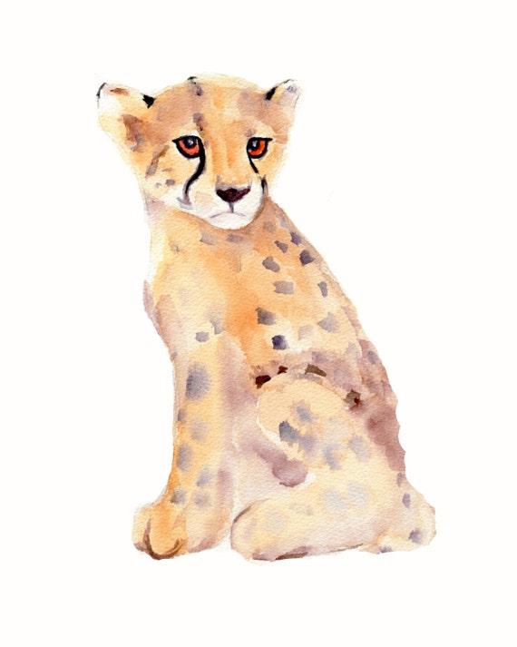 Italian Boy Name: Items Similar To Cheetah Watercolor Print- 8X10 Wild Cat