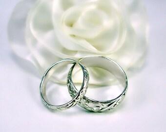 Sterling Silver Wedding Band Set, Custom sizes, Women's slim, Men's wide, Made to order, Fancy vine pattern