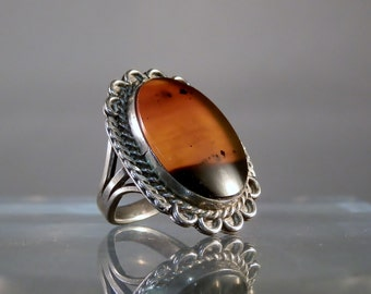 Vintage Ring Southwestern Jewelry Navajo Agate Cabochon and Silver Ring Carnelian Caramel Color Cabochon Size 5 DanPickedMinerals