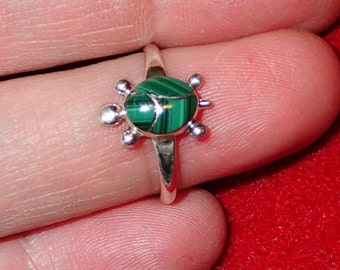 Zuni Inlay inlay Malachite Turtle Sterling Silver Ring