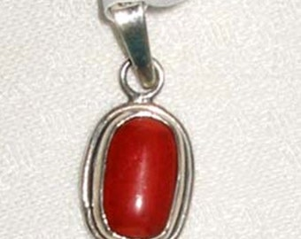 Small Coral Sterling Pendant