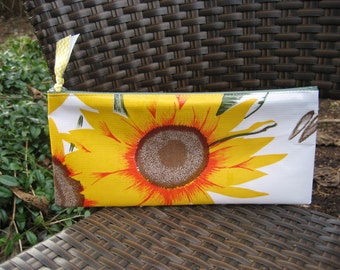 Zippered Oil Cloth Pouch-Retro Sunflowers Cosmetic Bag--Purse Organizer--Pencil pouch