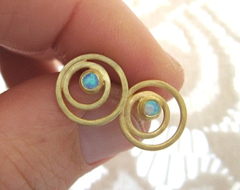 Gold circle stud earrings with opal , Gemstone studs , Opal gold post earrings , Handmade by Adi Yesod