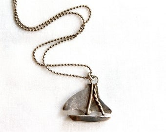 Vintage Sterling Silver Sailboat Charm Necklace