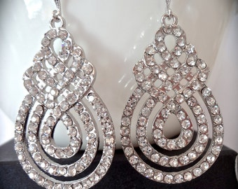 SALE ~ Brides earrings ~ Large Crystal, rhinestone, statement earrings ~ Crystal earrings ~ Swirl design ~ Bridal jewelry ~ Wedding earrings