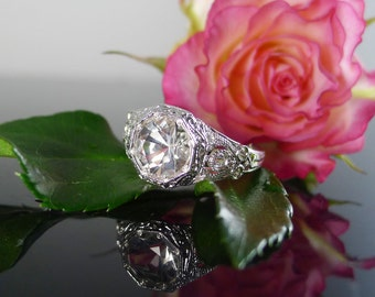 Diamond Alternative, Alternative Engagement Ring, Diamond Alternative Wedding Band, Herkimer Diamond, Sterling Silver Antique Ring Design