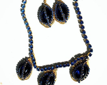 SALE Art Deco Blue Glass Cabochons w/Vintage Blue Rhinestones on Gold  Filigree Drops Blue Rhinesstone Necklace & Matching Earrings.