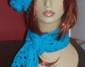 Teal Crochet Beret and Scarf Set