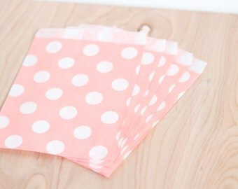 Paper Candy Bags 100 Count Blush Pink Polka Dot, 5x7 Merchandise, Wedding Favor, Candy Buffet, Gift Bag, Bridal or Baby Shower Party Bags