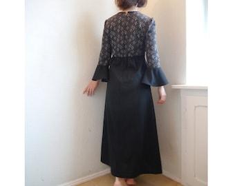 70s Prom dress SALE Vintage Maxi Dress  Black silver stars 70s Bohemian dress Medium size witchy dress/ S/ tulip bell bottom sleeves