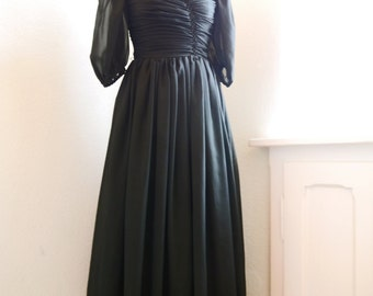 Vintage 80s Dress Party Black ChiffonProm Dress Party Maxi Dress Sheer dress S Puffed Sleeves Sheer 50s retro dress
