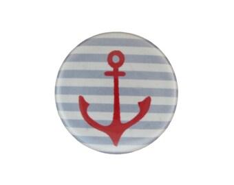 Anchor Stripe Pinback Button or Refrigerator Magnet - Nautical Pin or Nautical Magnet