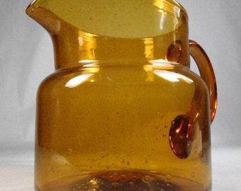 Erik Höglund for Boda, Amber Art Glass Pitcher, 1960s