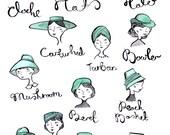Vintage Hats A4 Art Print