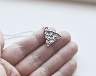 Pizza Necklace- Charm Jewelry- Under 20 - Under 15 - Silly Gag Gift - Food Pendant - Pepperoni - Cheese - Tomato Sauce - Bread - Crust
