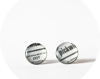16 mm record post earrings silver earrings resin stud earrings cool jewelry recycled jewelry funky jewelry gift idea contemporary jewelry