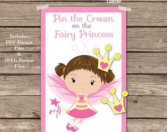 Pin the Crown on the Fairy Princess Printable Party Game - Princess Party Game - Fairy Party Game - Printable PDF - Instant Download