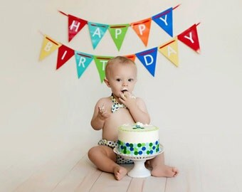 Blue and Green Cake Smash Outfit, Boy First Birthday Outfit, Baby Bow Tie and Diaper Cover, : Blue and Green Polka Dots