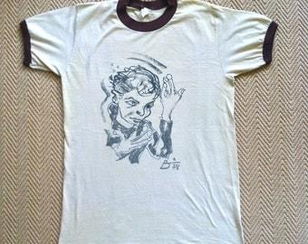 ULTRA RARE - Original 1978 David Bowie Heros Tour Ringer t-shirt - Tan & Brown - ADIDAS shirt - Large