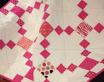 "A 37.5"" X 37.5"" Nine Patch Quilt, In The Line Called Princess By Adorn It"