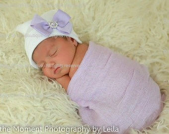 Baby Girl Hat - Lavender Bow with White Hat (newborn hospital hat, newborn beanie, newborn hat with bow)