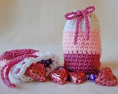 Crochet Drawstring Pouch Treat Bag - Pink, White - Valentine's Day