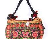 Tote Bag With Flower Handmade Pom Pom Strap HMONG Pattern (BG146-OW)