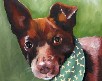 Custom pet portrait, perfect gift for pet lovers, hand painted from your photo on a 8x10 canvas