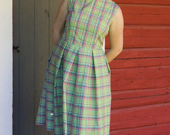 Alice plaid summer dress with pleated skirt SIZE US 12
